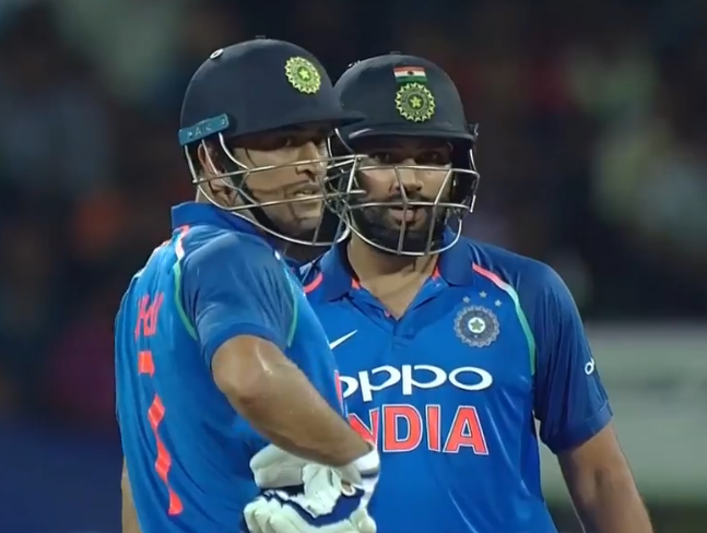 Rohit Sharma and MS Dhoni of India