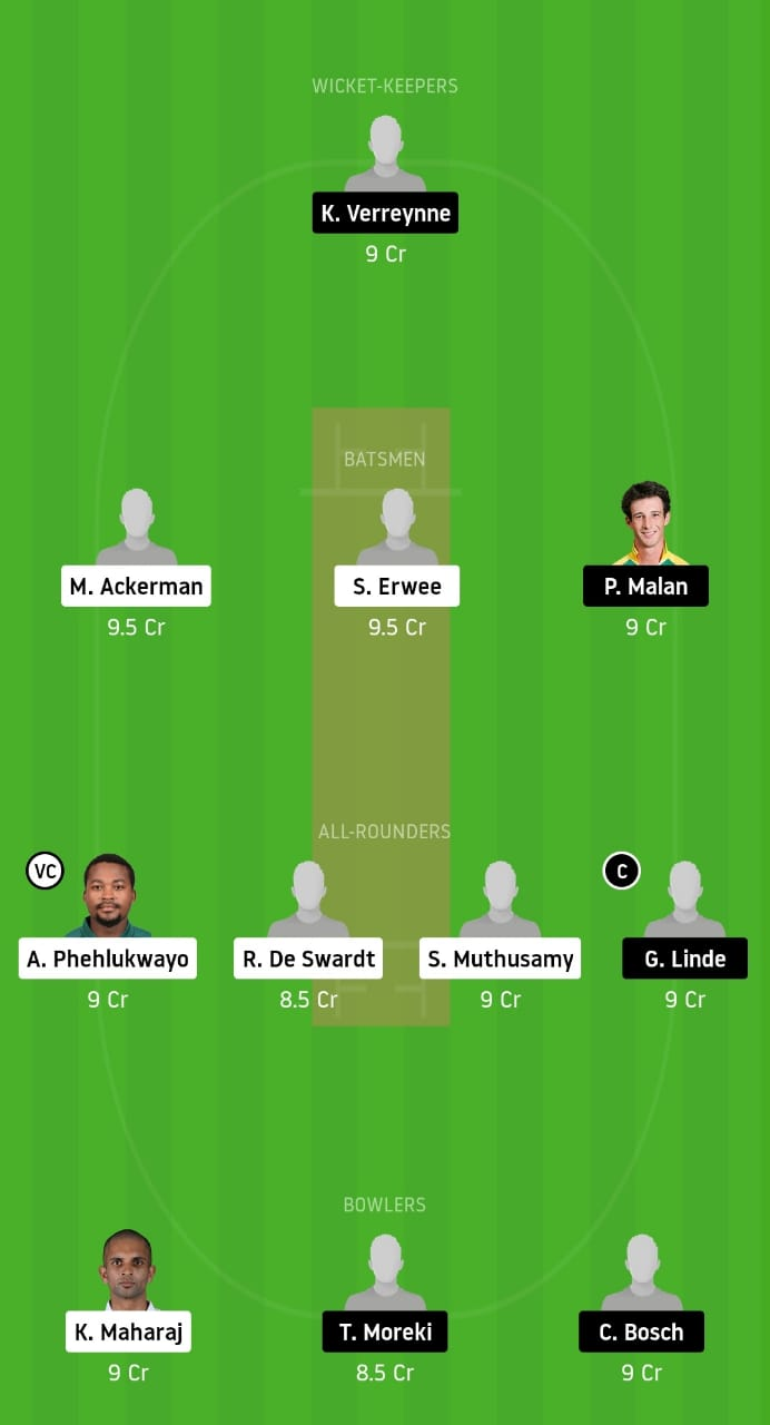Dolphins vs Cape Cobras Dream 11 Team